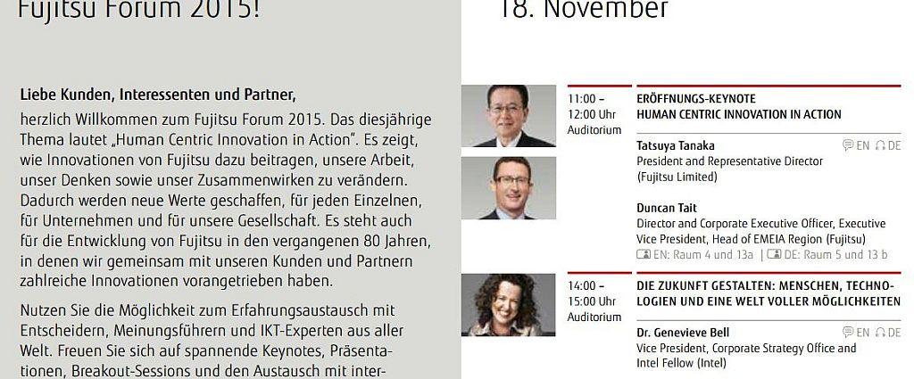Fujitsu Forum 2015: Conference Guide - das Wichtigste jederzeit im Blick behalten