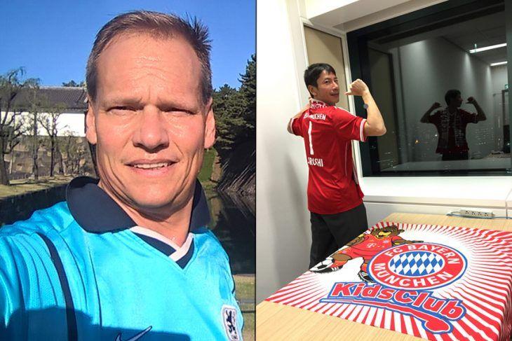 Fußball verbindet - Löwen-Fan Jochen Michels und Bayern-Anhänger Hiroshi Nishikawa, Digitalisierungsexperte bei Fujitsu Japan.