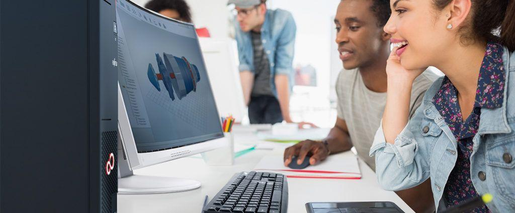 Digitale Schule: Securon for Schools an der Beruflichen Oberschule Passau - Symbolbild: Jugendliche an einem digitalen Arbeitsplatz von Fujitsu